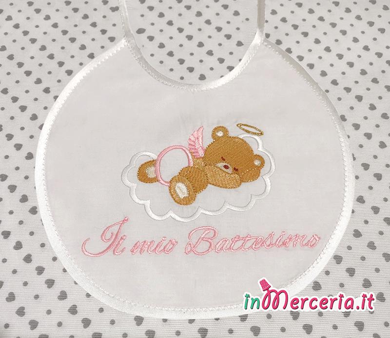 Bavaglino neonato Battesimo con orsetto rosa