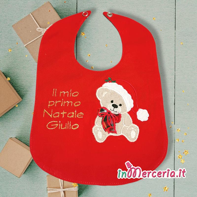 """Bavetta con orsetto """"Il mio primo Natale"""" per Giulio"""