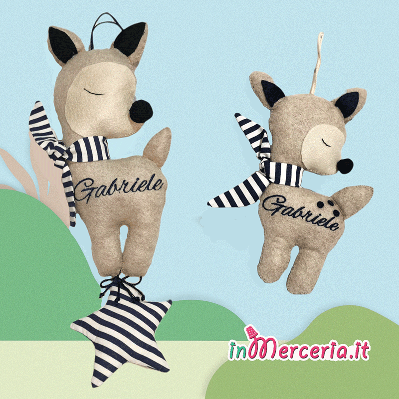 Cerbiatto con fiocchetto e stella con nome Gabriele