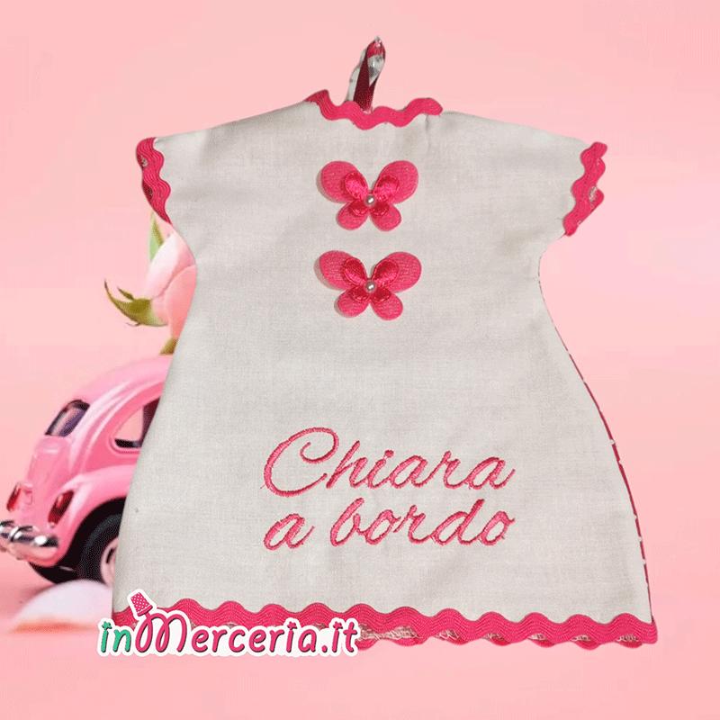 Maglietta auto bimba a bordo con farfalla per Chiara