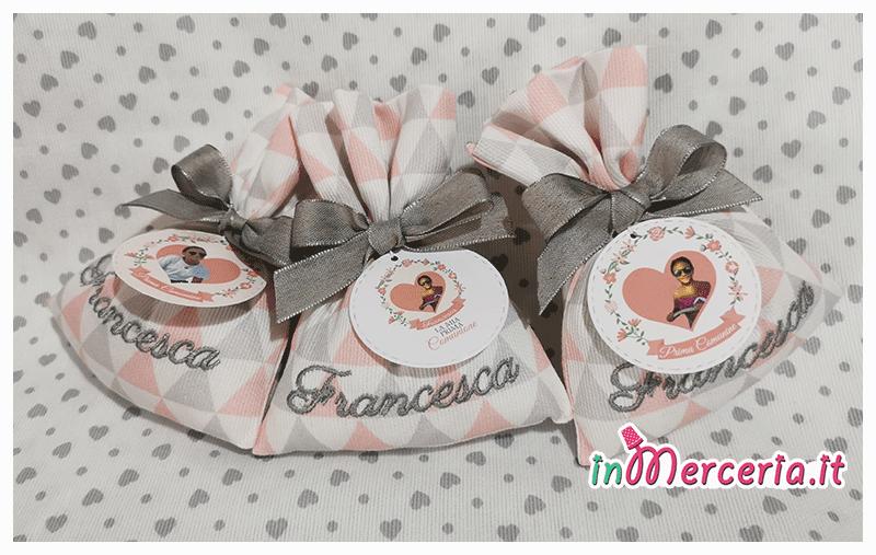 Sacchettini bomboniera portaconfetti comunione per Francesca